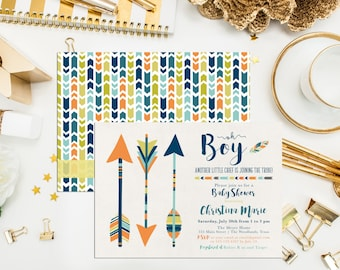 Boy Arrow Baby Shower Invitations. Tribal Shower Invites. Digital Printable Southwest Baby Shower. Arrow Invitation. Feather Invites.