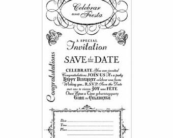 Graphic 45 ~Time to Celebrate 3~ 10 pc. Rubber Stamp Set by Hampton Art