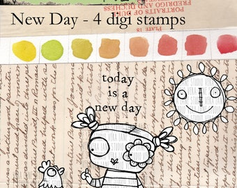 New Day - 4 digi stamp bundle