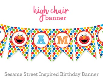 Sesame Street Inspired Birthday High Chair Banner - Sesame Street First Birthday - High Chair Party Banner - First Birthday Party