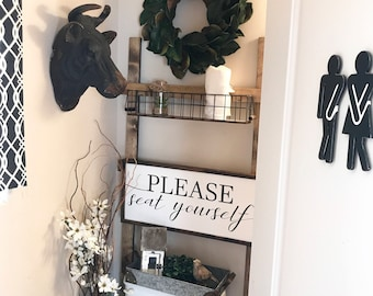 Please Seat Yourself 30x14 MORE COLORS / hand painted / wood sign / farmhouse style / rustic