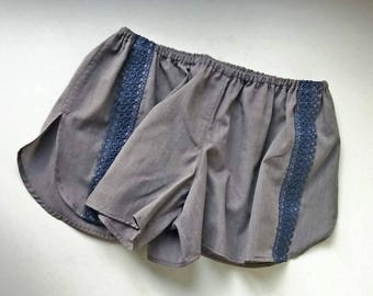 Size M/8 US Grey women cotton shorts with blue lace 70'ties inspired short sleeping/home/disco/yoga/summer/adventure/wild and free/festival