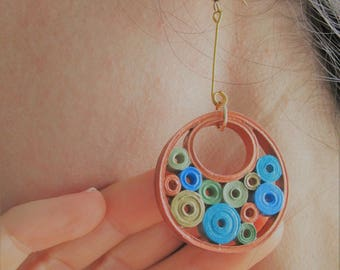 Circle earrings with bubble decoration in paper filigree mod. SeaBubble