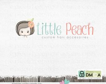 premade logo girl logo bow logo photography logo ribbon Logo little girl logos boutique Logo Premade logos Hand Drawn Logo photographer logo