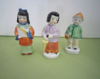 Asian Figurines, Asian decor, Collectibles, Japanese Statues, Made in Japan, Set of 3