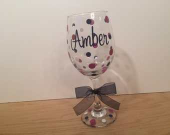 Personalized Wine glass, Extra large 20 oz, name or monogram and polka dots, birthday, wedding, bachelorette party, gift