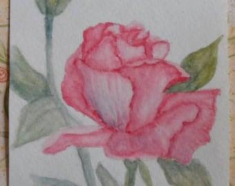 Rose Card Watercolor Greeting Card Watercolor Roses Watercolors Cards Watercolor Flowers Watercolor Rose Card