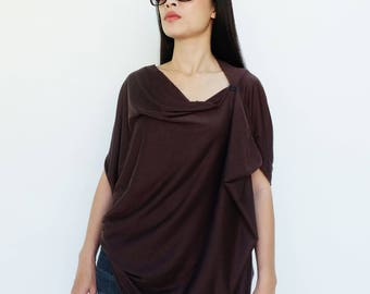 NO.60 Brown Cotton-Blend Jersey Origami Top, Asymmetrical T-Shirt
