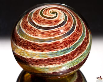Hand-Crafted Glass Paperweight - Gold with Ruby Spiral