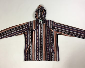 XL - Full Zip Patch Cotton Hooded Jacket - Made In Nepal