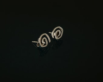 Silver Spiral Stud Earrings in Sterling Silver