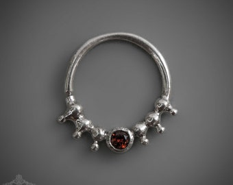 Silver Septum Ring For Pierced Nose With Garnet - Septum Jewelry - Septum Piercing - Nose Jewelry - Tribal