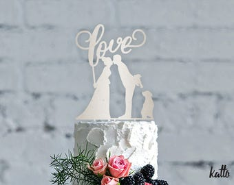 Wedding Cake Topper with Dog - Silhouette Cake Topper- Customizable Wedding Cake Topper- Dog Cake Topper for Wedding- Kiss Cake Topper- Cake