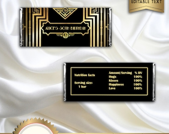 Great Gatsby Art Deco Candy Bar Wrappers, Birthday Candy Wrapper, Black and Gold - Digital File - EDITABLE text - DOWNLOAD Instantly, GG01