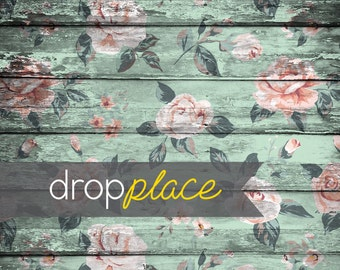 Floor Drop Backdrop Vintage Light Green Distressed Wood Flower Planks Photo Booth Photo Prop (Multiple Sizes Available)