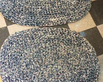 Pair of matching handmade vintage braided rugs