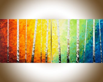 "Large Abstract Painting 60"" birch wall art birch painting rainbow painting on canvas yellow orange blue green white black by qiqigallery"