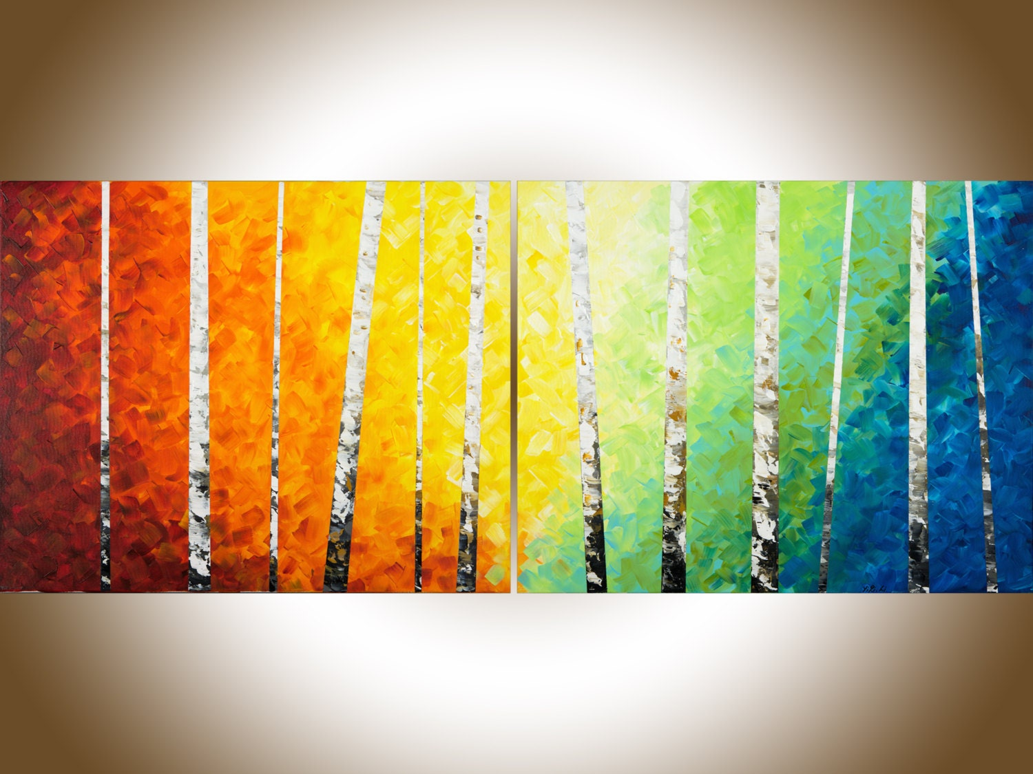 Large Abstract Painting 60 birch wall art birch painting