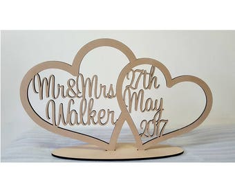Free Standing UNPAINTED personalised custom Mr & Mrs surname and date wedding sign
