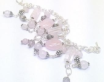 Rose Quartz Charm Bracelet (Pink Serenade) by Gonet Jewelry Design