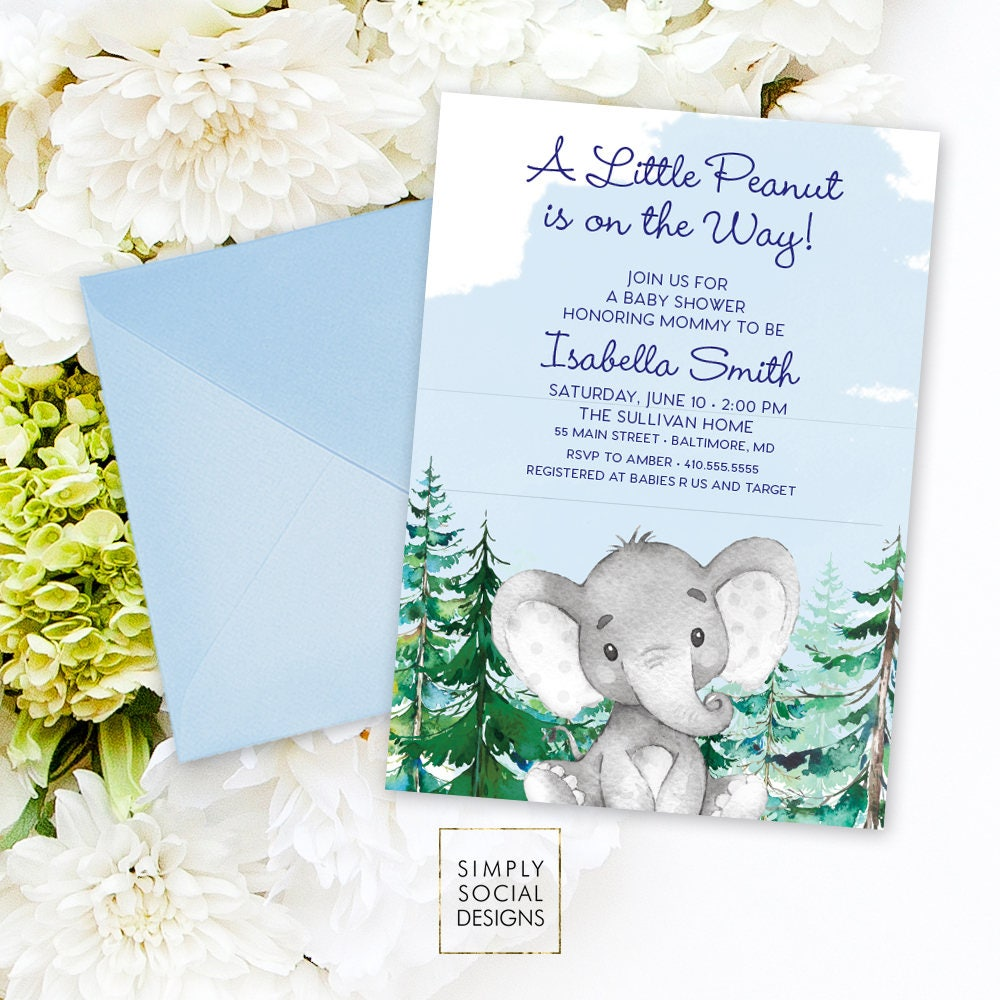 Blue Elephant Baby Shower Invitation - It\'s a Boy Winter Conifer ...