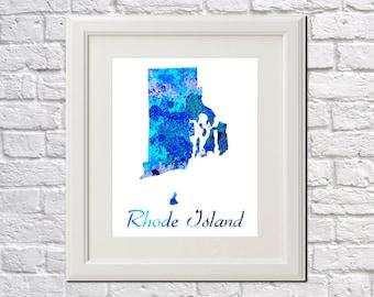 Rhode Island State Map Rhode Island Print Rhode Island Art Rhode Island State Outline Rhode Island Home Decor Wall Art