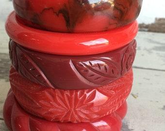 Vintage Bakelite Bracelets - Red Carved Marbled Stack 5