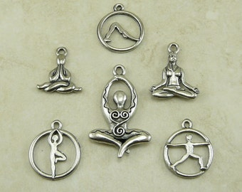 6 Yoga Pose Charms Mix Pack > Downward Dog Lotus Tree Zen Buddhist - Raw American made,  Lead Free Pewter - I ship internationally