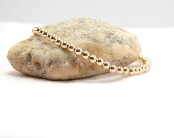 4mm Gold Stacking Bracelet, Stretch Bracelet, Beaded Bracelet, Gold Bead Bracelet, Gold Stretch Bracelet, Gold Filled Jewelry, Gold Bracelet