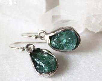 apatite earrings, silver earrings, dangle earrings,  raw apatite, recycled silver