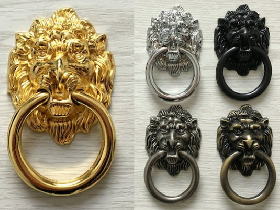 Lion Head Door Knocker Ring Drawer Pull Knobs Dresser Drop Rings Gold Silver  Bronze Black Antique Brass Pewter Cabinet Pull ARoseRambling From  ARoseRambling ...