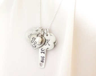 Family Necklace - Personalized Family Necklace - Long Charm Necklace for Mom - Hand Stamped Necklace with Names - Mother's Day Gift