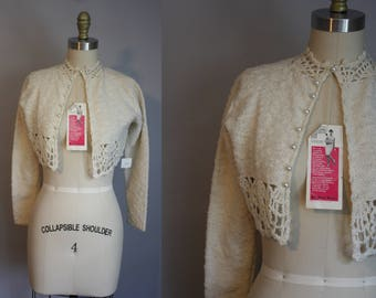 1960s NOS Cropped Cardigan // Sparkly Spiderweb Detail // XS