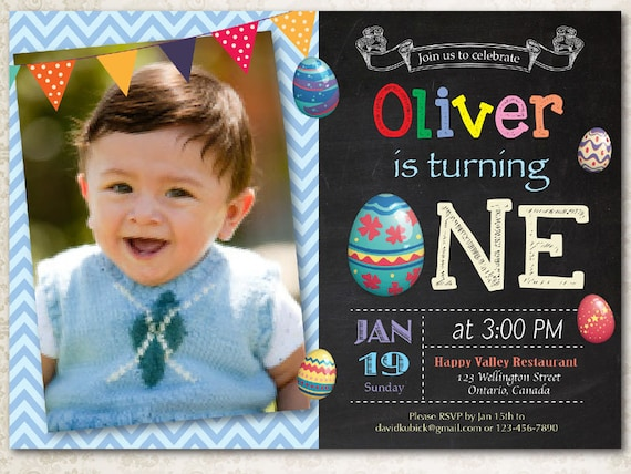 Easter birthday invitation Boy Easter Egg first birthday