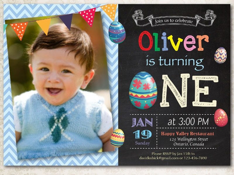 Easter birthday invitation. Boy Easter Egg first birthday