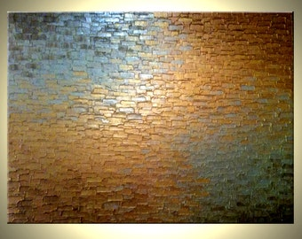 Original Abstract Gold Metallic Palette Knife Painting - Bronze Modern Textured Art by Lafferty - 36 x 48 - , Mothers Day Gift, Sale