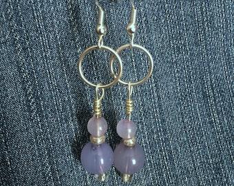 Light Purple Double Bead Earring