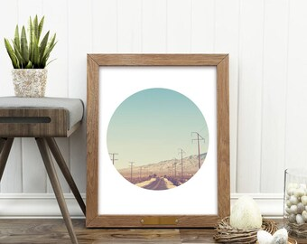 travel print, Road Trip, California printable art, minimalist decor, downloadable art, digital print, circle decor, photography, dorm art