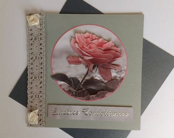 Card of condolence, made, 3D flower