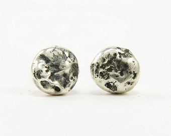 Full moon earrings Recycled silver stud earrings Oxidised silver nugget earrings Rustic jewelry  Modern minimalist earrings
