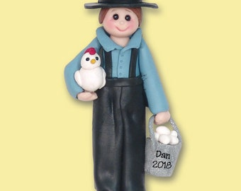 Amish Boy Polymer Clay HANDMADE Personalized Christmas Ornament - Limited Edition