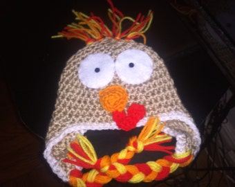 Handmade Crocheted Thanksgiving Baby Beanie Turkey Hat Choose Your Size