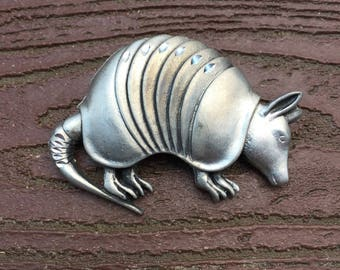 Vintage Jewelry Pewter Armadillo Pin Brooch