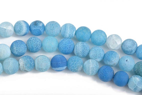 10mm Bright Blue Frosted Agate Round Beads Natural