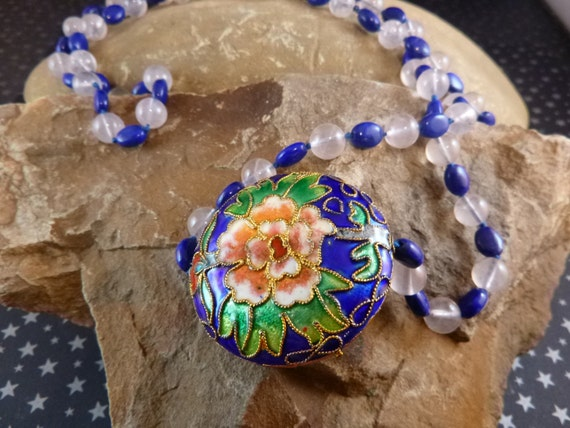 Cloisonné Long Vintage Necklace with Glass Blue and White Beads Asymmetrical Style Floral Design