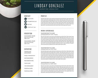 Modern Resume Template | Professional Resume Template for Word | Cover Letter | CV Template | Creative Resume | Instant Download | Lindsay