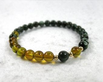 Genuine Green Amber & Seraphinite, Healing, Enlightenment Stone, Chakra Balancing, Yoga Gift, Green Gemstone Bracelet, Heart Chakra Bracelet
