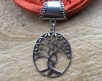 Silver tree of life large scarf ring pendant to thread your favourite scarf through