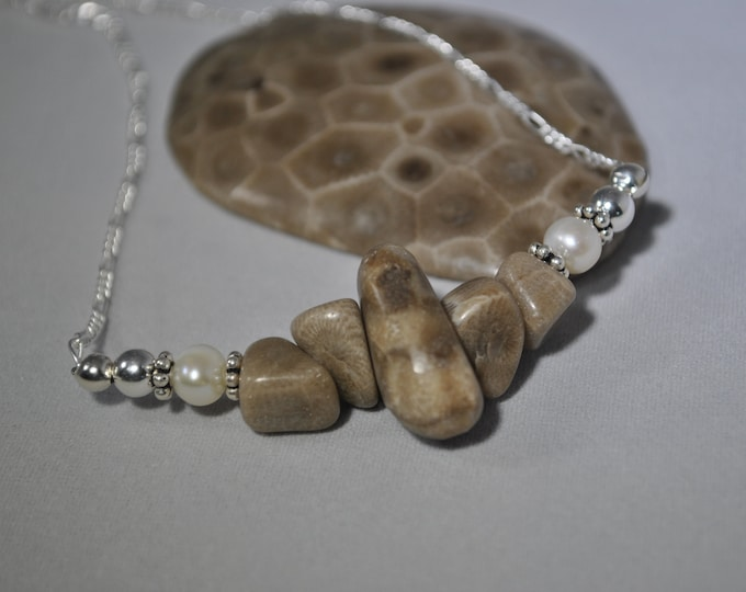 Petoskey Stone necklace, Petoskey stone nuggets, pearl, sterling silver, Michigan necklace, Up North necklace