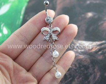 White pearl bow belly ring,cute bow bellyring,Dangle Belly Button Ring,Pearl Belly Button Ring ,Dangle Belly Ring ,Belly Button Piercing